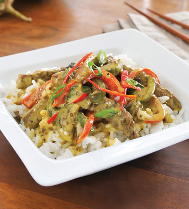Green Curry Beef with Eggplant
