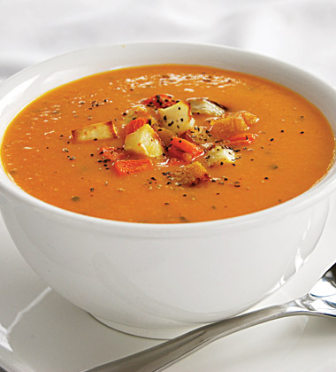 Brown Sugar Roasted Winter Vegetable and Carrot Soup