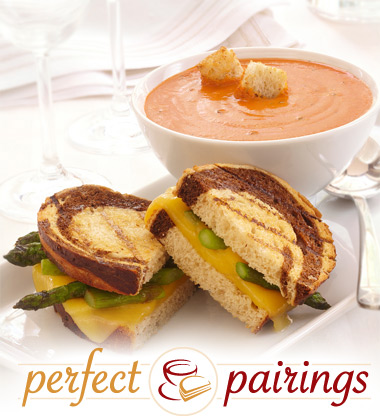 Perfect Pairings: Tomato Roasted Red Pepper Bisque with a Gouda & Asparagus Sandwich