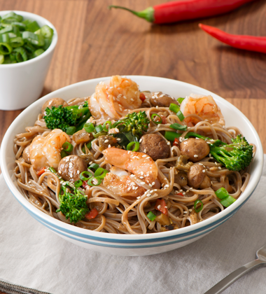 Mushroom and Shrimp Soba Noodles