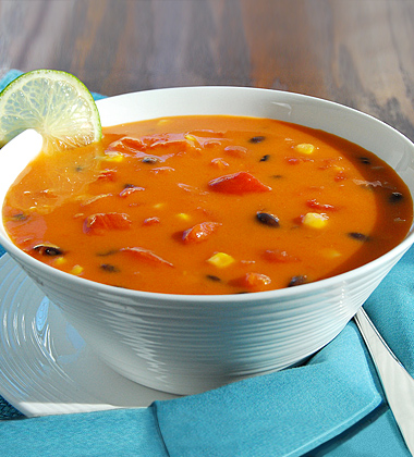 Southwest Tomato Bisque with Corn and Black Beans