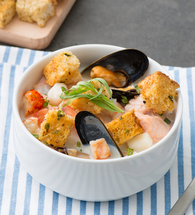 Seafood Chowder with Old Bay Croutons and Tarragon