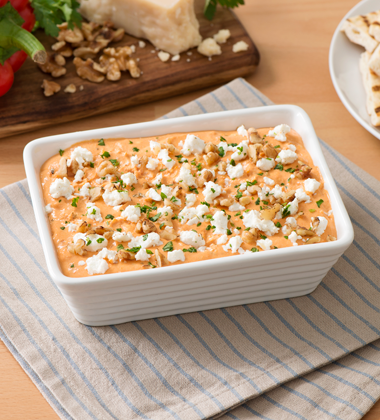 Walnut and Goat Cheese Roasted Red Pepper Dip
