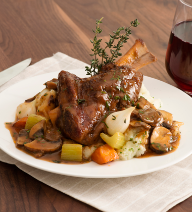 Braised Lamb Shank with Red Wine Mushroom Sauce