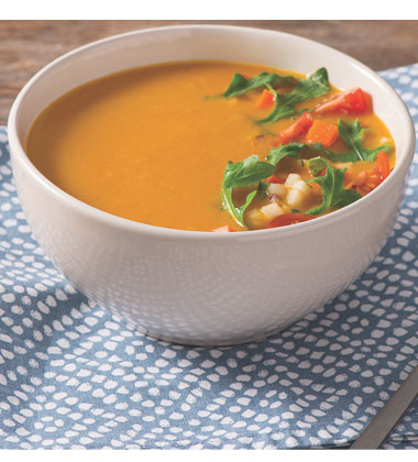 Carrot Gazpacho with Salad Topper