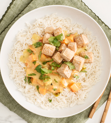 Chicken and Tofu Green Curry with Sweet Potato