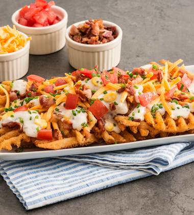 Loaded Clam Chowder Waffle Fries