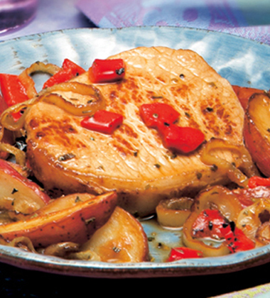 PORK WITH ROASTED PEPPERS & POTATOES