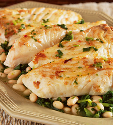 HALIBUT WITH BEANS AND SPINACH