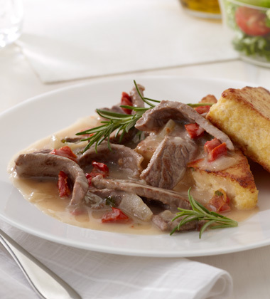 BEEF & MUSHROOM RAGOUT WITH PAN SEARED POLENTA