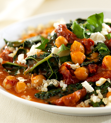 BRAISED KALE WITH CHICKPEAS AND QUINOA