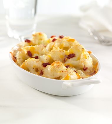 CAULIFLOWER GRATIN WITH PROSCIUTTO AND CHEDDAR