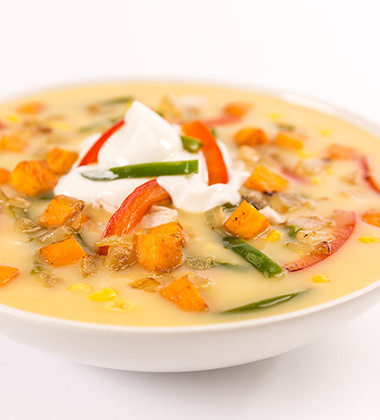 SWEET POTATO, CHICKEN & CORN CHOWDER SOUP