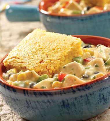 SOUTHWEST CHICKEN POT PIE WITH CORN BREAD TOPPING