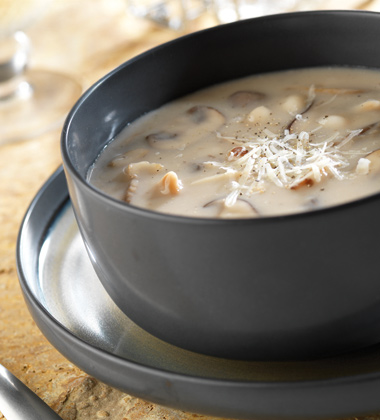 WHITE BEAN AND FIVE MUSHROOM CHOWDER