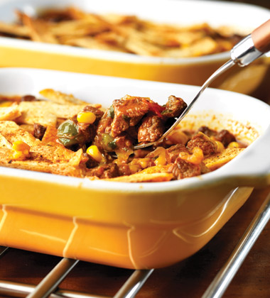 NO BEAN BEEF CHILI POT PIE WITH TORTILLA STRIP TOPPING