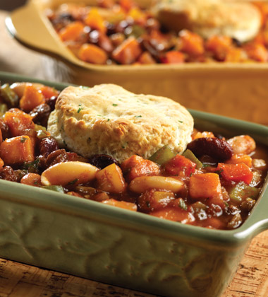 VEGETARIAN SEVEN BEAN POT PIE WITH BISCUIT TOPPING