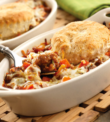 ITALIAN PARMESAN POT PIE WITH HERB BISCUIT TOPPING