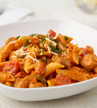 TURKEY SAUSAGE AND PEPPER PASTA MADE WITH V8® SPICY HOT