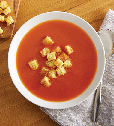 TOMATO SOUP WITH CORNBREAD CROUTONS MADE WITH CAMPBELL'S® CONDENSED TOMATO SOUP