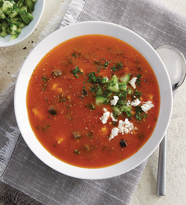 MEDITERRANEAN GREEK TOMATO SOUP MADE WTH CAMPBELL'S® CONDENSED TOMATO SOUP