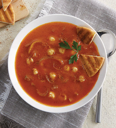 TOMATO SOUP WITH RAS EL HANOUNT & PITA MADE WITH CAMPBELL'S® CONDENSED TOMATO SOUP