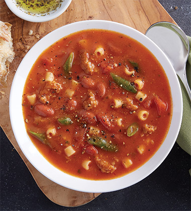 ITALIAN SAUSAGE MINESTRONE SOUP MADE WTH CAMPBELL'S® CONDENSED TOMATO SOUP