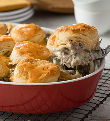 BISCUIT & SAUSAGE CASSEROLE MADE WITH CAMPBELL'S® CREAM OF MUSHROOM SOUP