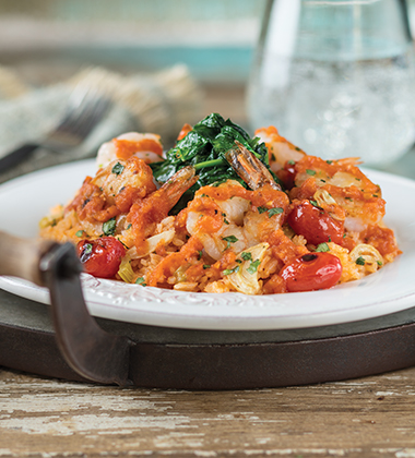 GARLIC SHRIMP WITH WILTED SPINACH & SPANISH RICE MADE WITH V8® SPICY HOT VEGETABLE JUICE