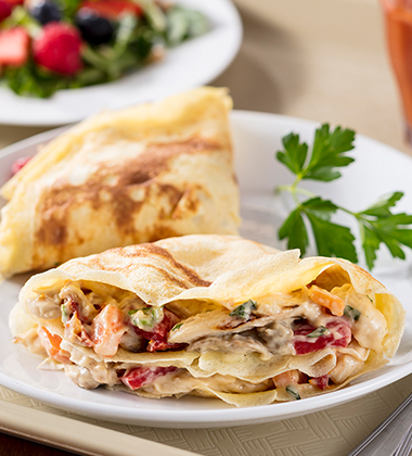 CHICKEN GOAT CHEESE & SUNDRIED TOMATO CREPES CAMPBELL'S® HEALTHY REQUEST® CREAM OF CHICKEN SOUP