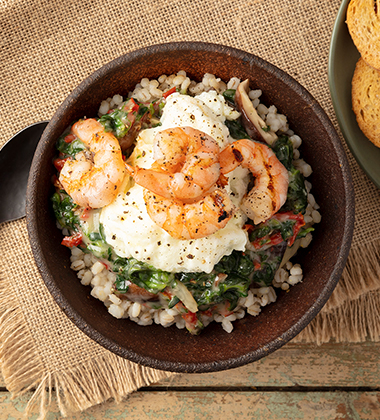 GRILLED SHRIMP & MUSHROOM BARLEY SOUP MADE WITH CAMPBELL'S® HEALTHY REQUEST® CREAM OF MUSHROOM SOUP