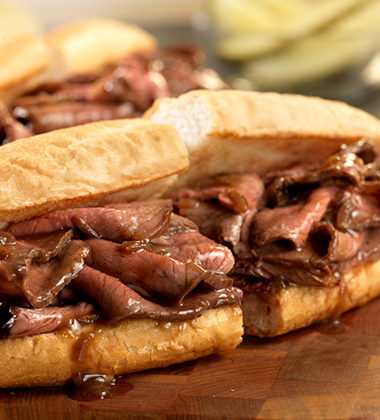 HOT ROAST BEEF SANDWICH MADE WITH CAMPBELL'S® BROWN GRAVY