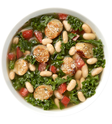 CAMPBELL'S FRESH PREPARED SOUP SPOT®: WHITE BEAN, SAUSAGE & KALE SOUP WITH SOUP CUSTOMIZER TM