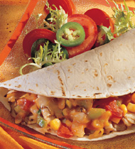 PORK QUESADILLAS WITH TOMATO CORN RELISH