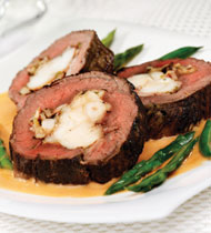 LOBSTER STUFFED BEEF TENDERLOIN WITH LOBSTER SAUCE