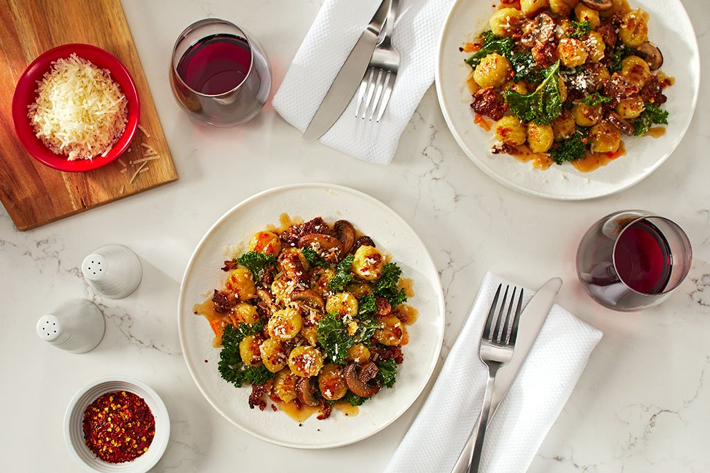 Pan Seared Gnocchi with Sausage, Mushroom and Kale