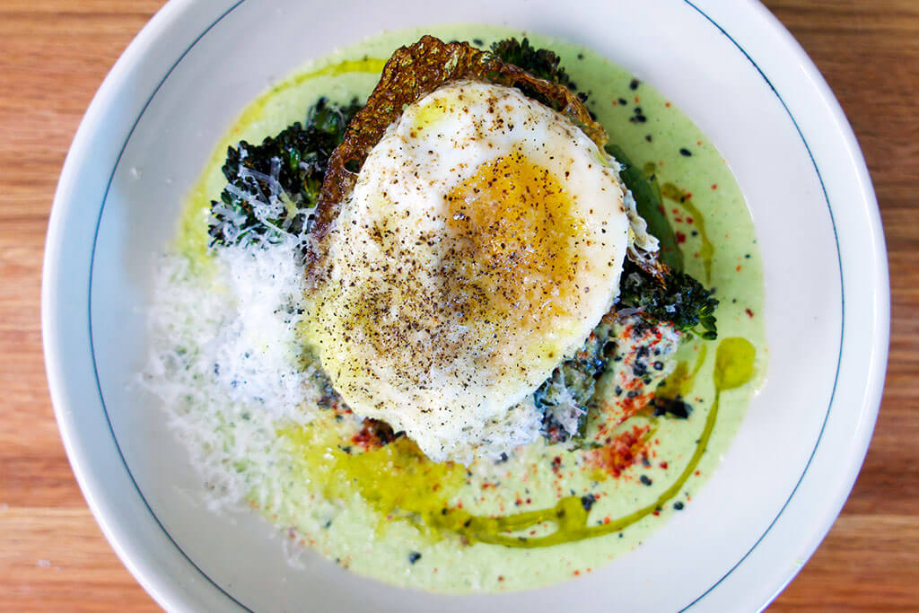 Charred Broccolini with Pecorino, Black Sesame and a Fried Egg