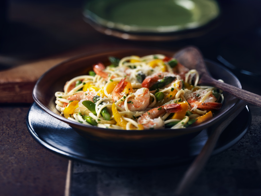Shrimp and Asparagus Linguine