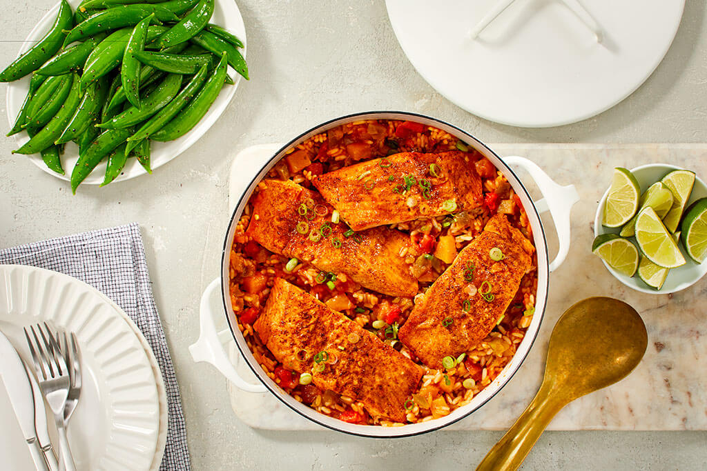 Sweet Chili Salmon and Rice Skillet