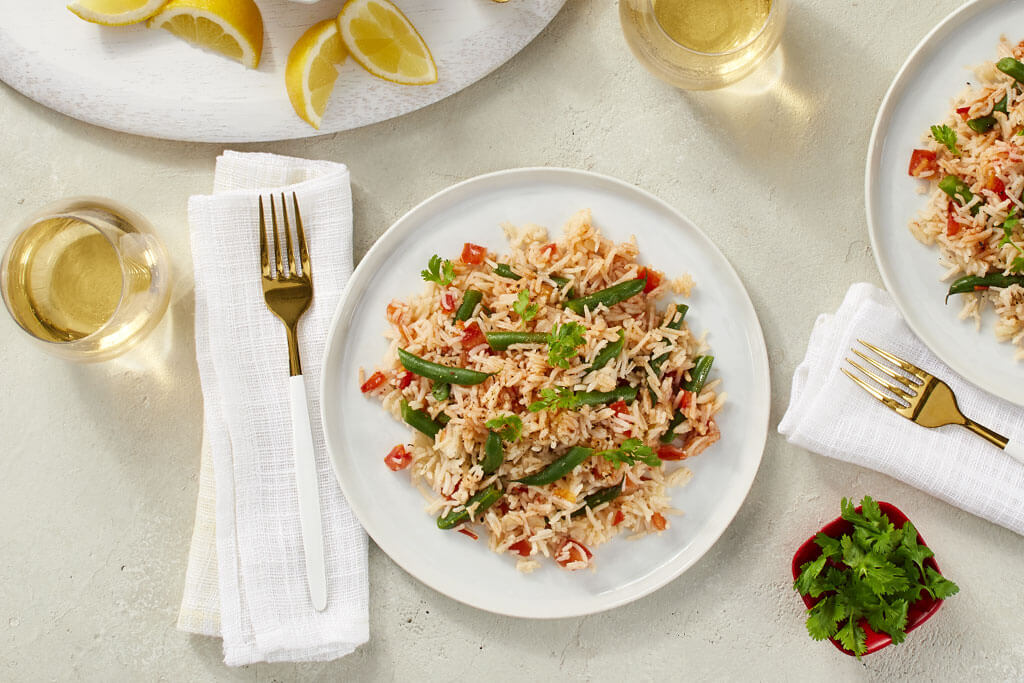 Green Beans and Tomato Rice Pilaf
