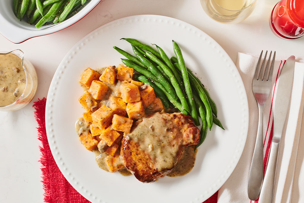 Two Step Mushroom Pork Chops with Sweet Potatoes