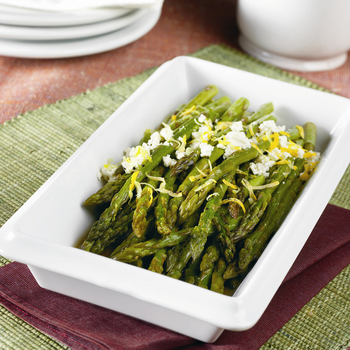 Roasted Asparagus with Lemon & Goat Cheese