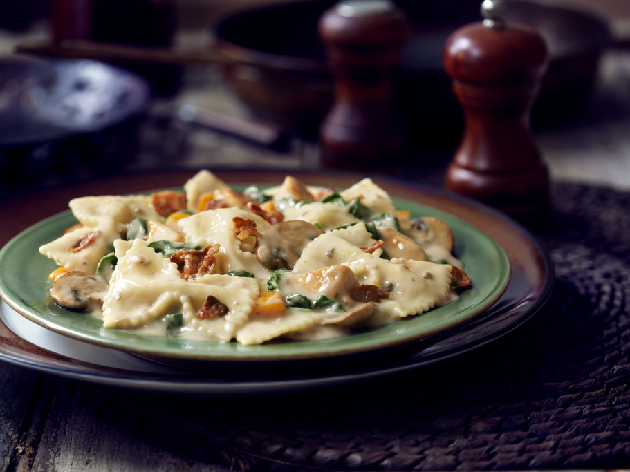 Chicken & Bacon Farfalle with Spinach & Mushrooms Recipe ...