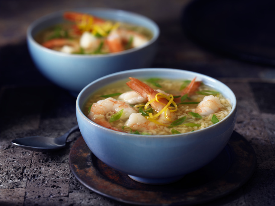 Lemon Garlic Shrimp Soup with Brown Rice