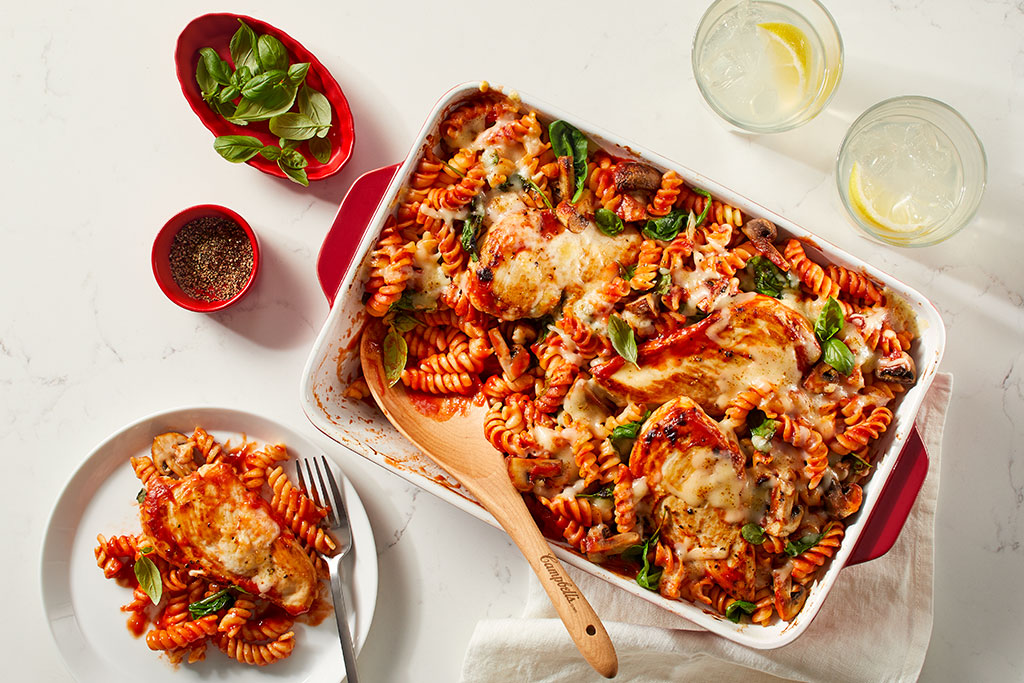 Tomato Chicken and Pasta Bake