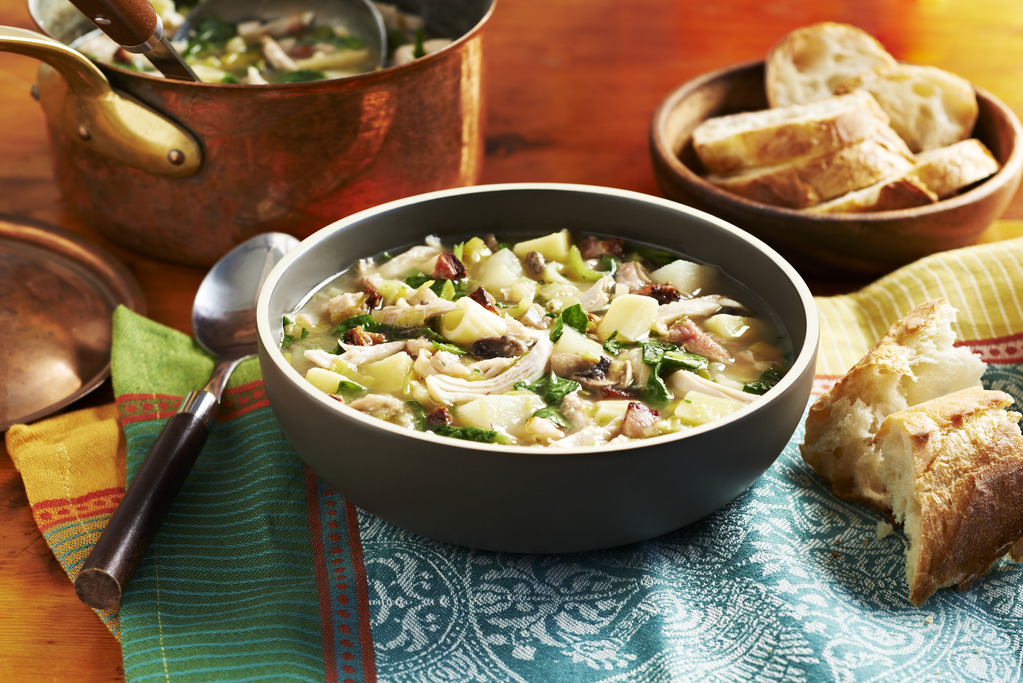 White Minestrone Soup with Roast Chicken