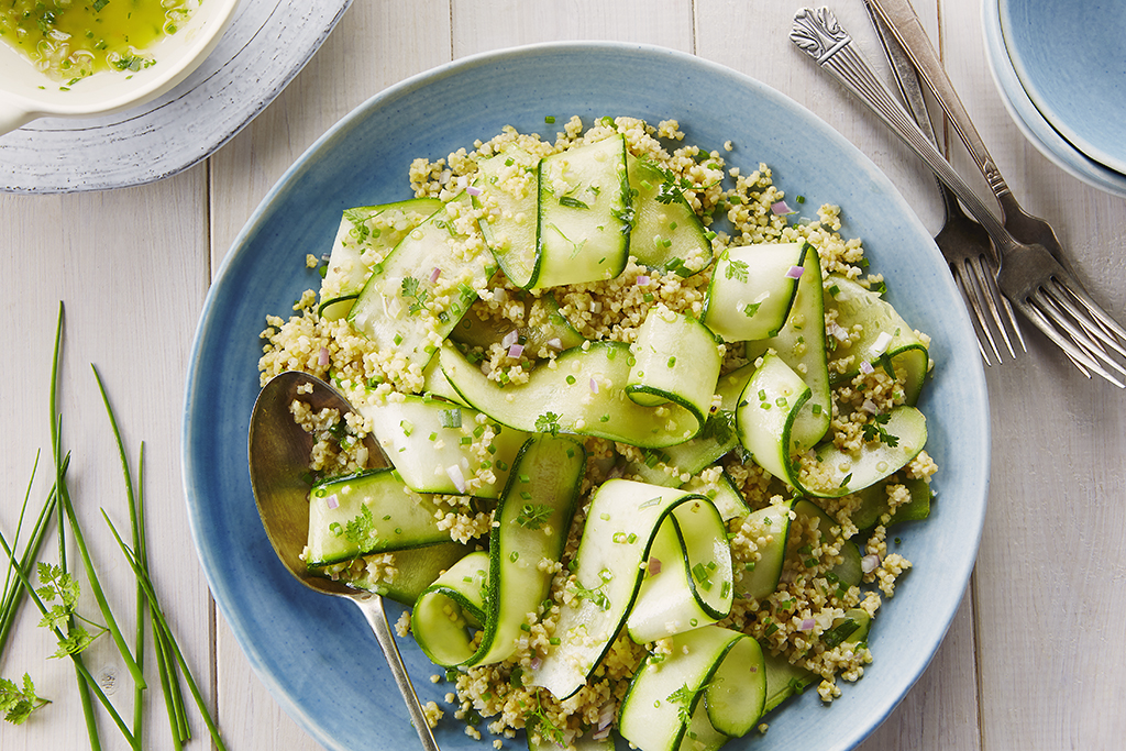 Zucchini Ribbons, Millet, and Pine Nuts with Herb Dressing