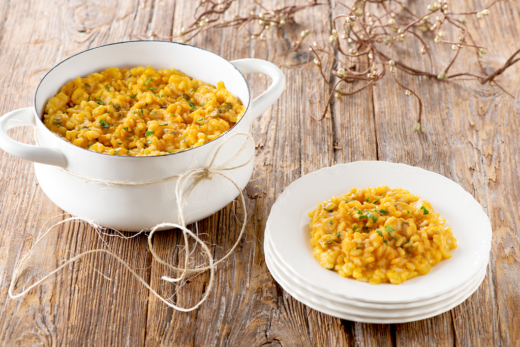 Pumpkin Oven Risotto with Sage