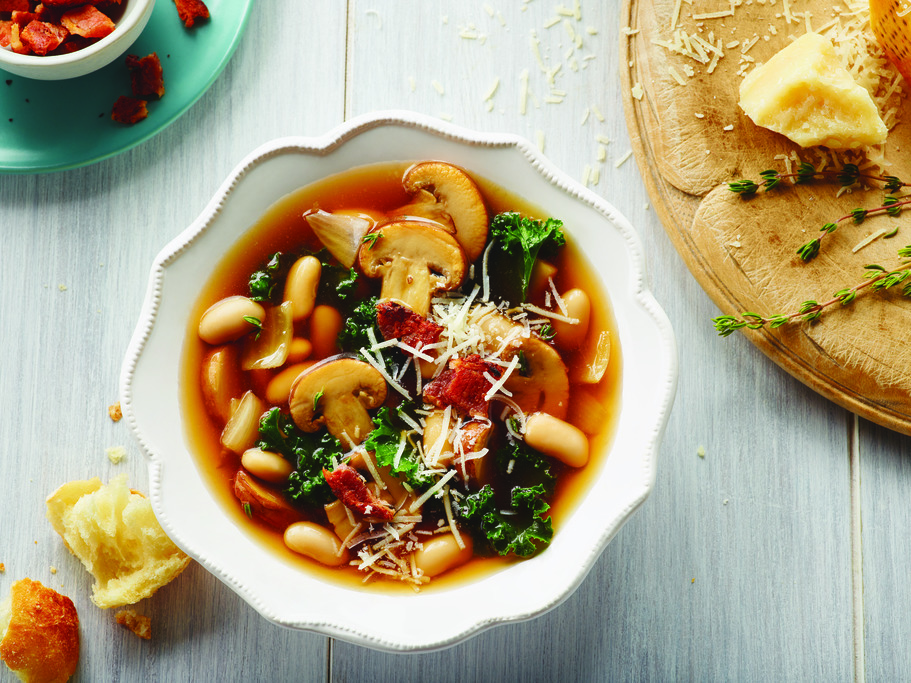 Tuscan Kale and White Bean with Mushroom Soup