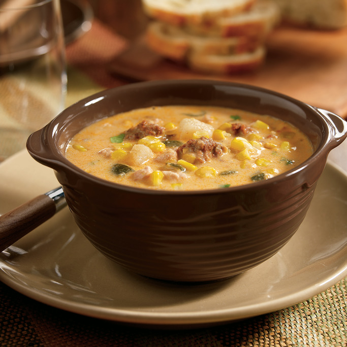 Slow Cooker Corn Chowder with Chicken and Chorizo Sausage